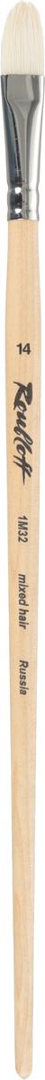 Roubloff Кисть 1M32 синтетика и щетина овальная № 14 длинная ручка roubloff кисть 1632 щетина овальная 36 длинная ручка