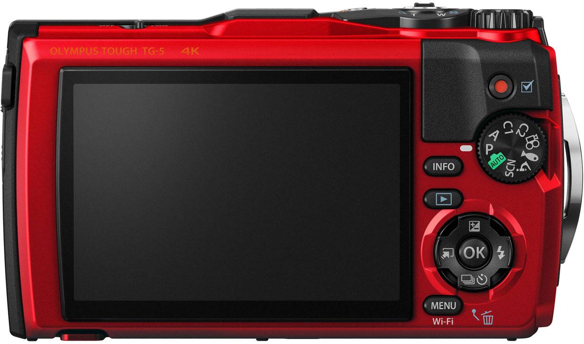 Компактный фотоаппарат Olympus TG-5, Red в комплекте с LG-1 Olympus