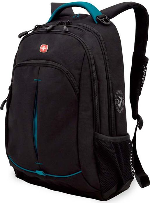 Рюкзак Wenger, цвет: черный, бирюзовый, 22 л