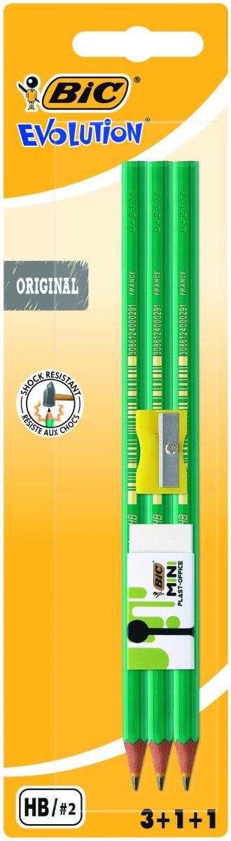 Bic Карандаш чернографитовый Evolution 650 с точилкой и ластиком 3 шт lavellecollection карандаш pl12 двойной с точилкой тон 22 черный синий 7 г