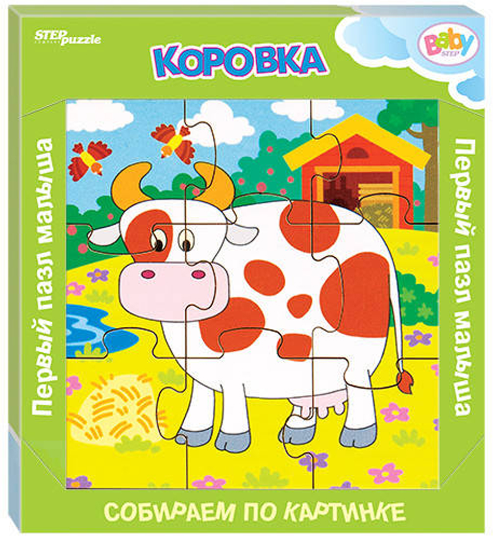 цена на Step Puzzle Обучающая игра Собираем по картинке Коровка