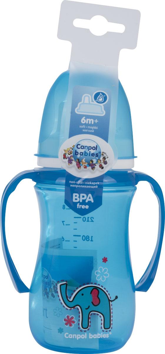 Canpol Поильник-непроливайка Sweet Fun с мягким носиком цвет голубой 240 мл