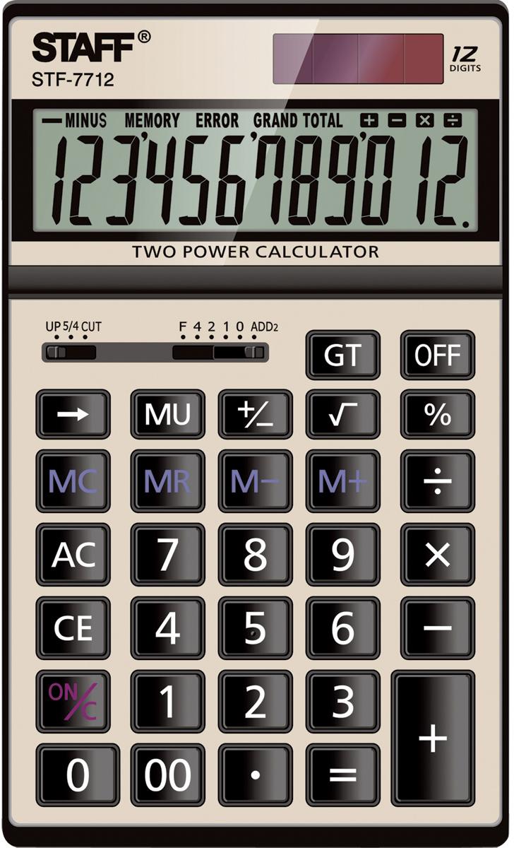 Staff Калькулятор настольный STF-7712 цвет золотистый. 250306 калькулятор staff stf 310