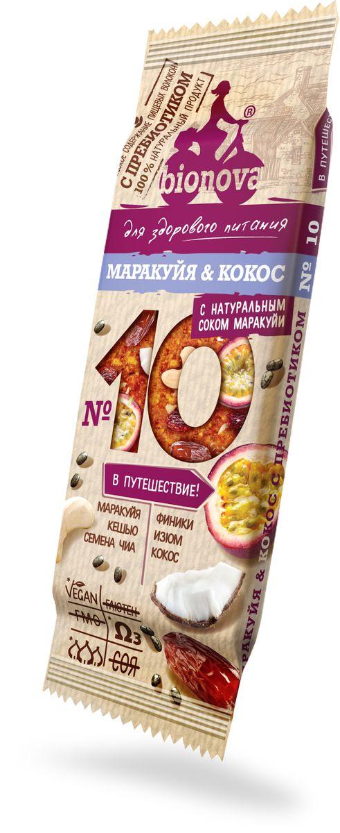 Bionova фруктово-ореховый батончик маракуйя и кокос, 35 г недорого