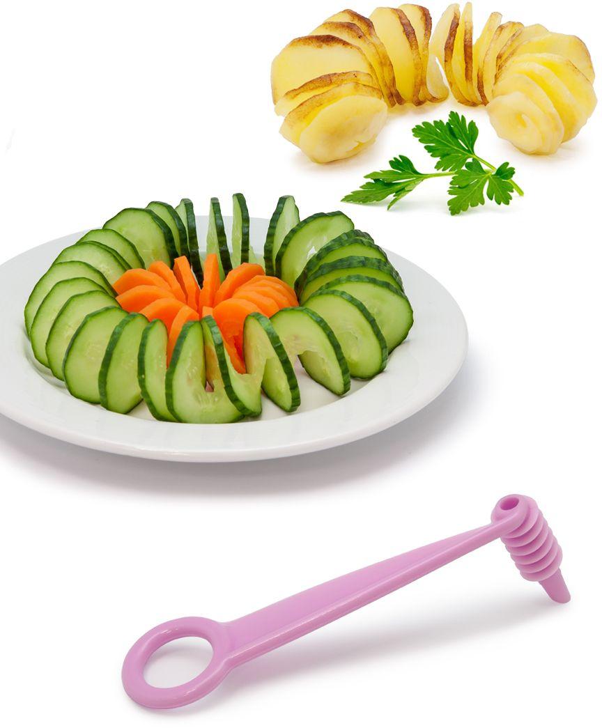 судок для овощерезок и тёрок borner моделей классика и тренд цвет сиреневый Нож-декоратор Borner для спиральной нарезки, цвет: сиреневый