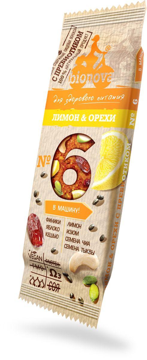 Bionova фруктово-ореховый батончик с лимоном и орехами, 35 г недорого