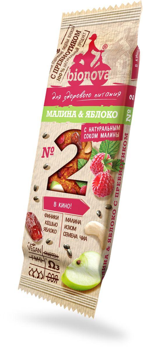 Bionova фруктово-ореховый батончик с малиной и яблоком, 35 г фруктово злаковый батончик effort инжир с яблоком и корицей 50 г