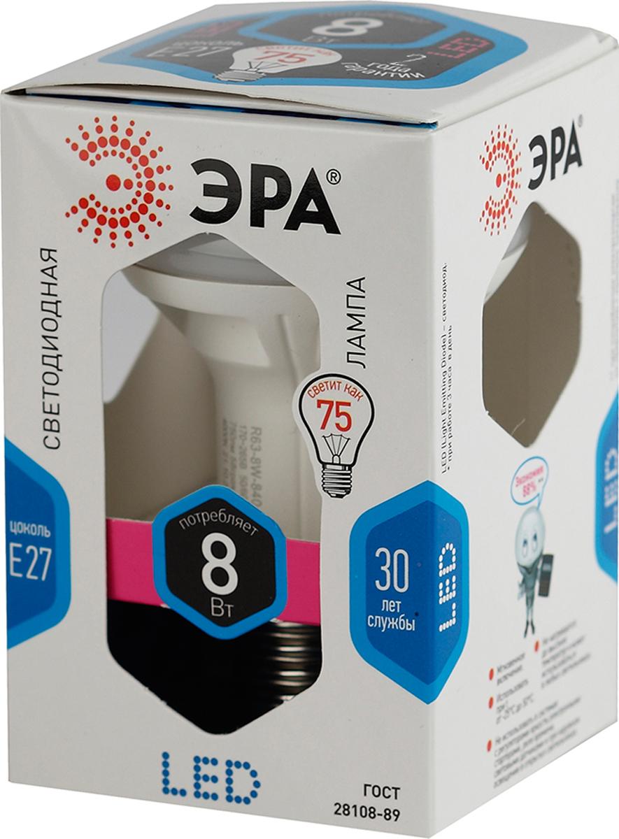 Лампа светодиодная ЭРА, цоколь E27, 8W, 4000K. R63-8w-840-E27 лампа светодиодная эра r63 8w 840 e27