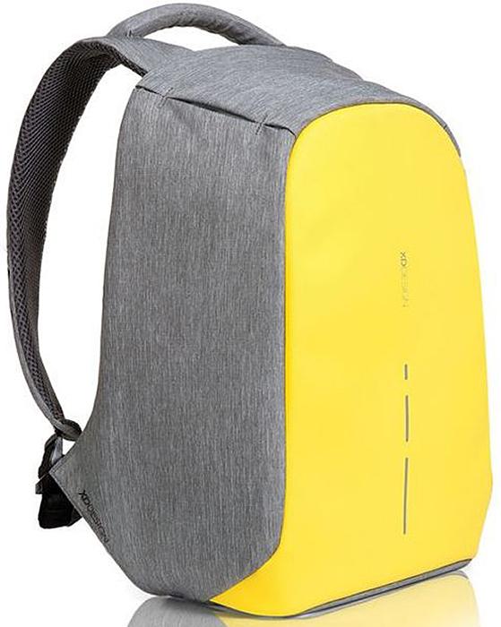 Рюкзак для ноутбука XD design Bobby Compact, до 14, цвет: серый, желтый, 11 л рюкзак для ноутбука xd design bobby до 15 6 цвет черный с серой подкладкой 13 л