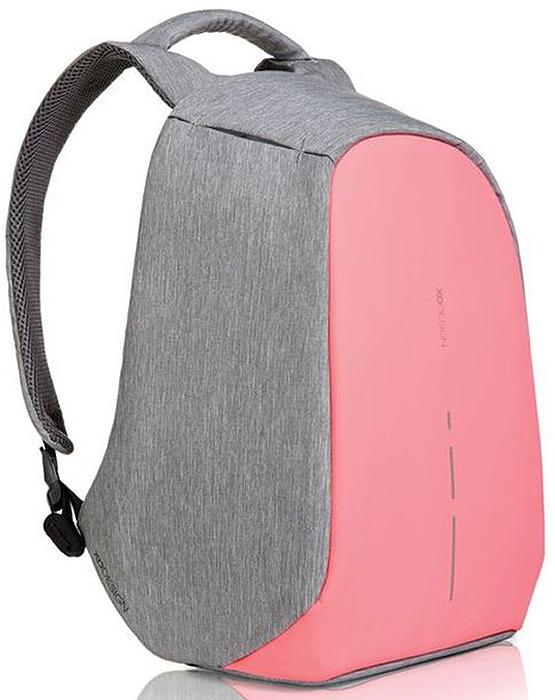 Рюкзак для ноутбука XD design Bobby Compact, до 14, цвет: серый, розовый, 11 л рюкзак для ноутбука xd design bobby до 15 6 цвет черный с серой подкладкой 13 л