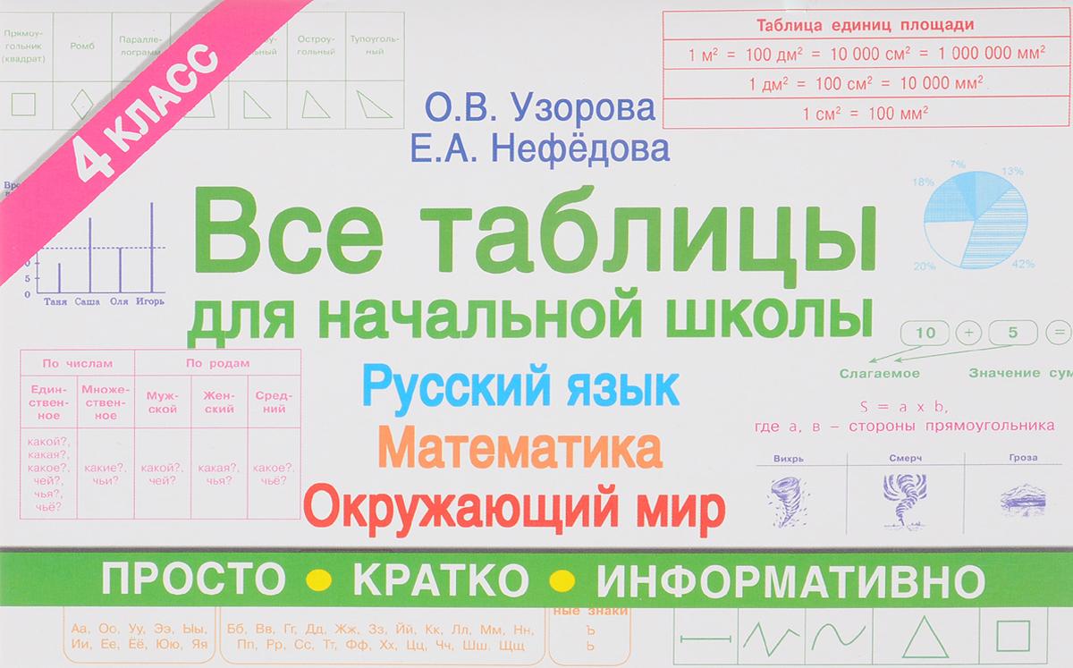 О. В. Узорова, Е. А. Нефедова Все таблицы для 4 класса. Русский язык. Математика. Окружающий мир
