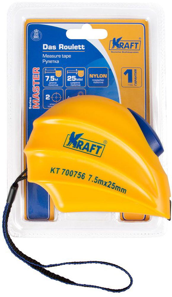 Рулетка Kraft Master, с автоматической фиксацией, 7,5 м х 25 мм цена