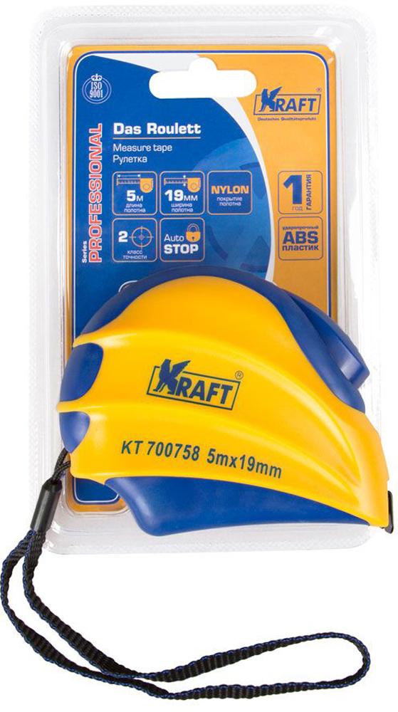 Рулетка Kraft Professional, с автоматической фиксацией, 5 м х 19 мм