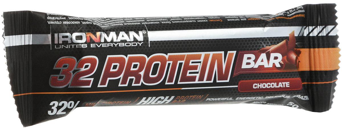 цена на Батончик протеиновый Ironman 32 Protein, шоколад, темная глазурь, 50 г