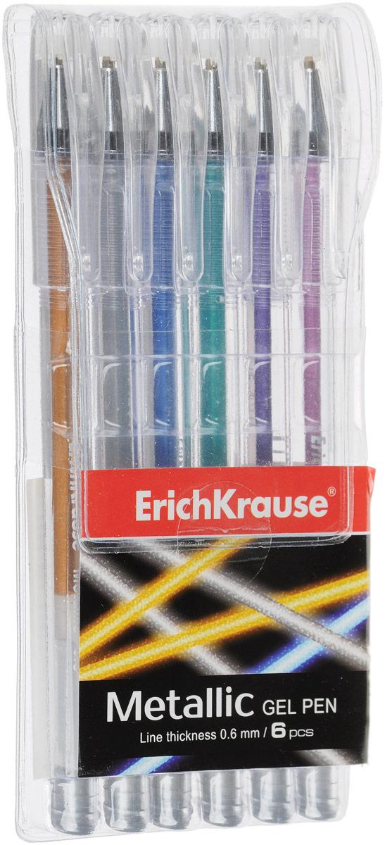Ручка гелевая ErichKrause Metallic, 6 шт erich krause ручка гелевая metallic в наборе из 6 шт пауч