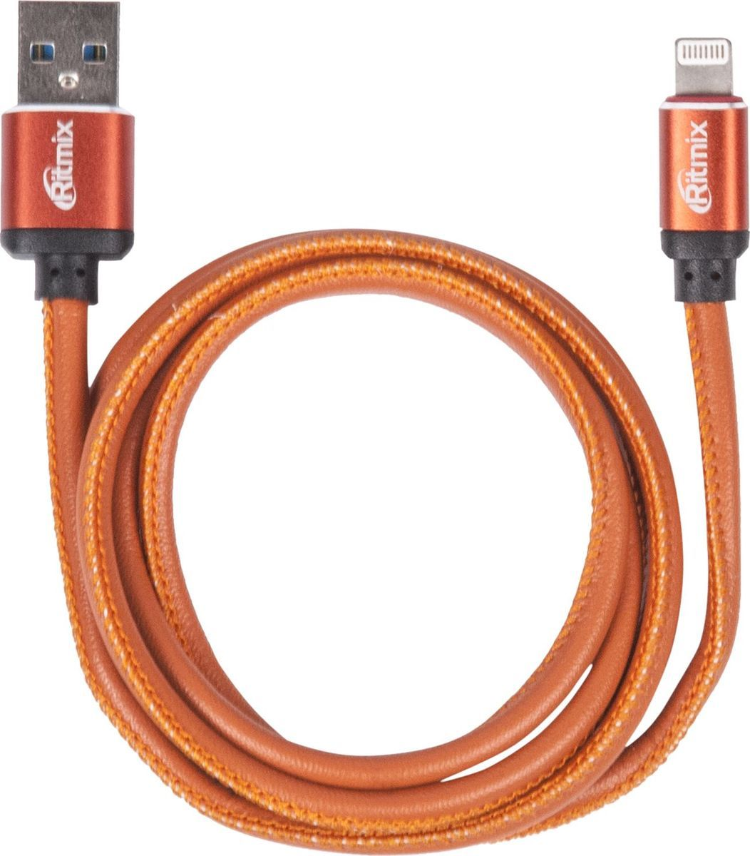 Ritmix RCC-425, Leather кабель USB-Lightning (1 м) кабель lightning 8pin usb ritmix rcc 422 brown для синхронизации зарядки 1м нейлон опл мет коннекторы