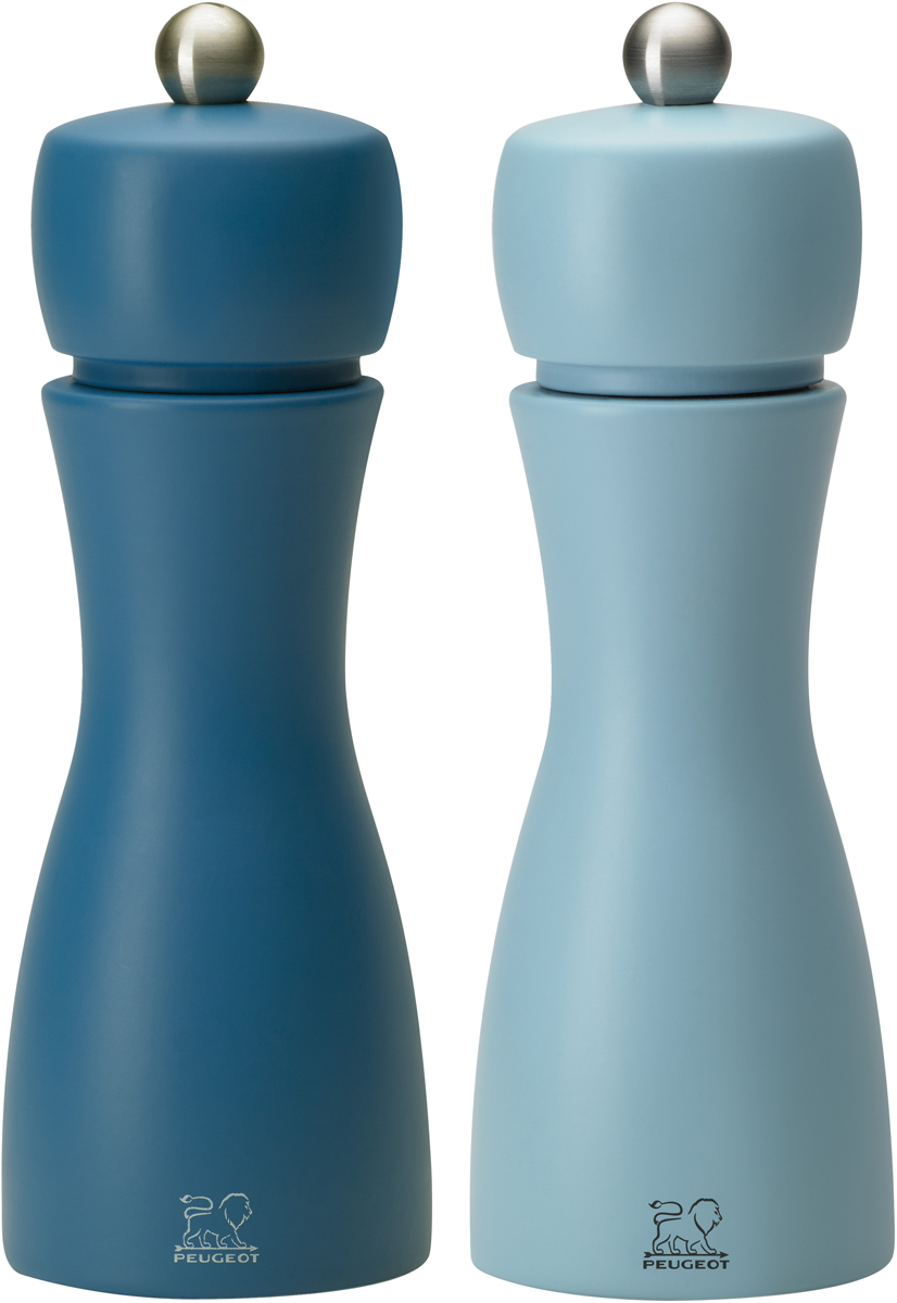 """Набор мельниц для специй Peugeot """"Tahiti set"""", цвет: голубой, синий, высота 15 см, 2 предмета"""