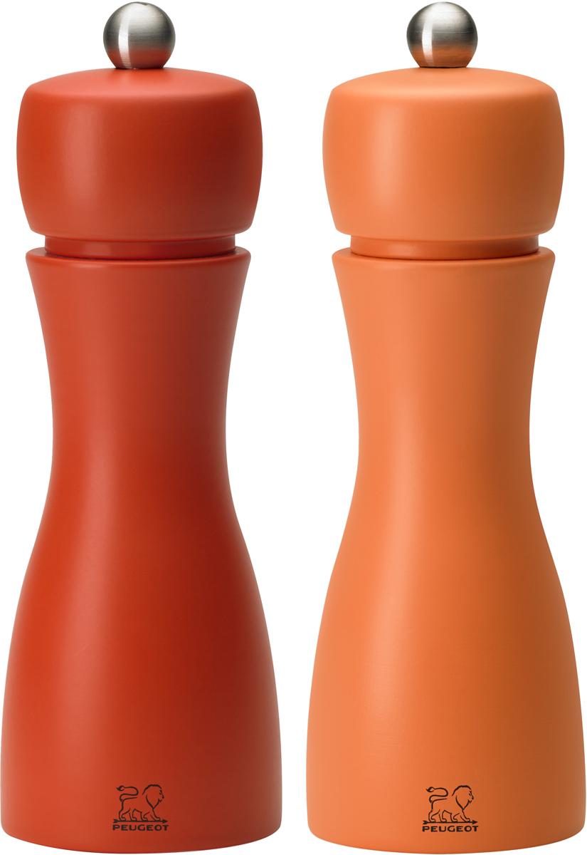 """Набор мельниц для специй Peugeot """"Tahiti set"""", цвет: коралловый, оранжевый, высота 15 см, 2 предмета"""