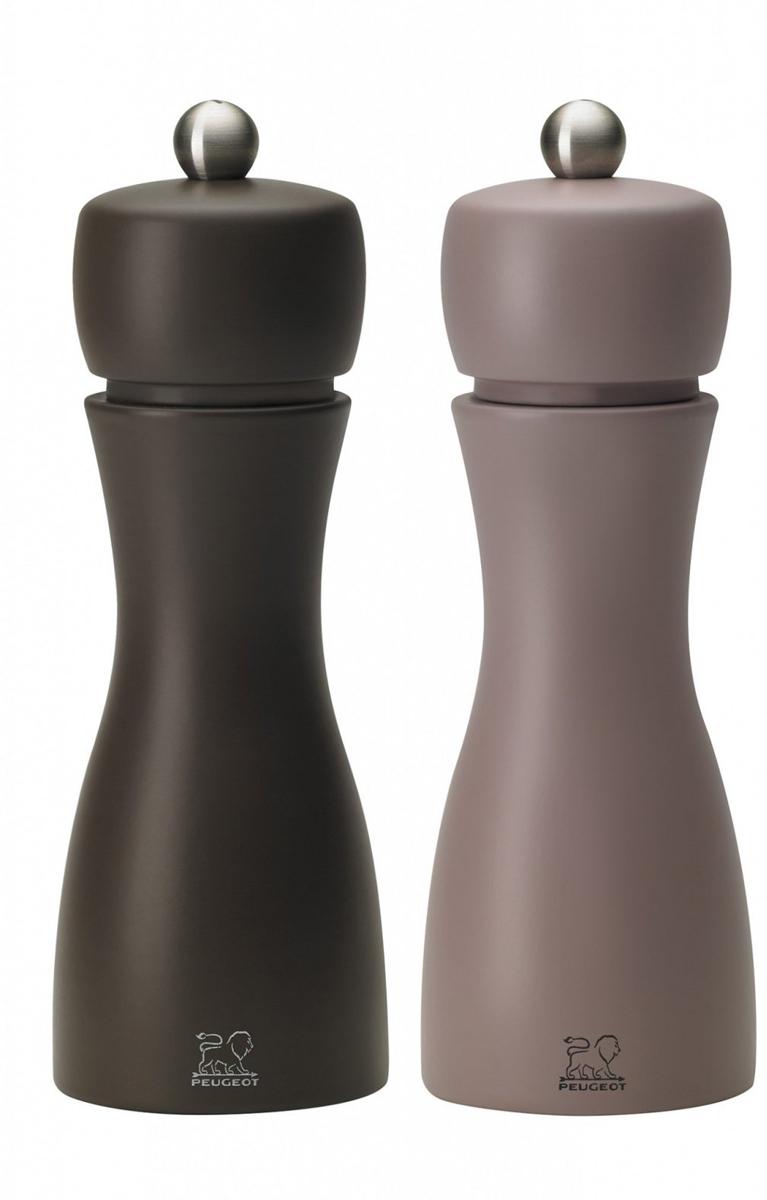 """Набор мельниц для специй Peugeot """"Tahiti set"""", цвет: темно-коричневый, высота 15 см, 2 предмета"""