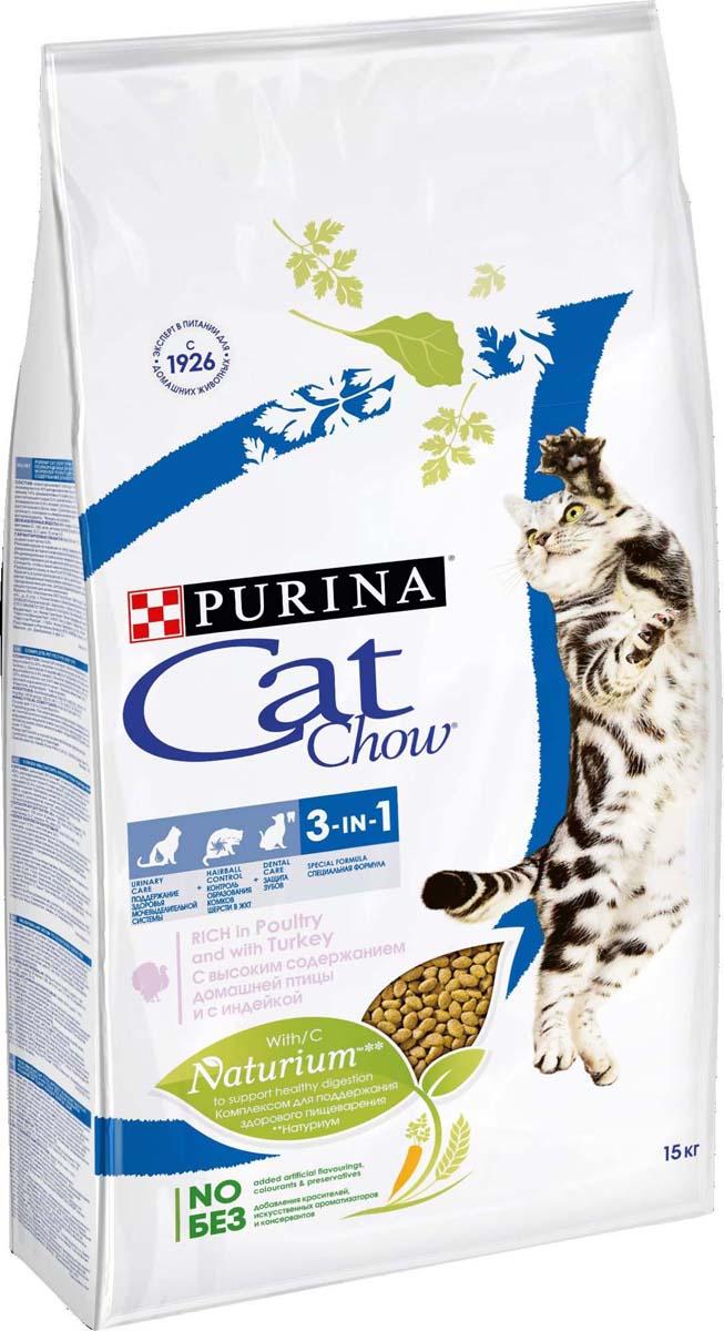 Корм сухой для кошек Cat Chow Feline, с формулой тройного действия, 15 кг корм для кошек cat chow feline 3 в 1 сух 15кг