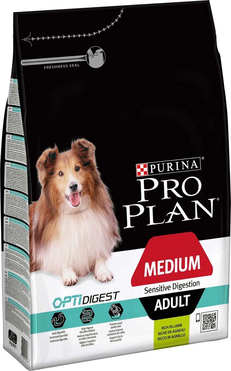 """Корм сухой Pro Plan """"Adult Digestion"""" для взрослых собак средних пород с чувствительным пищеварением, с ягненком и рисом, 3 кг"""