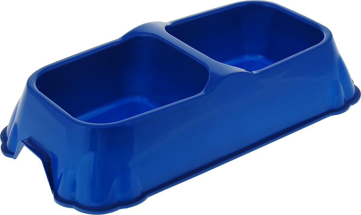 Миска для животных №1, двойная, цвет: синий, 2 х 700 мл артмиска миска для животных artmiska кот и рыбы двойная на подставке кремовая 2 шт x 350 мл