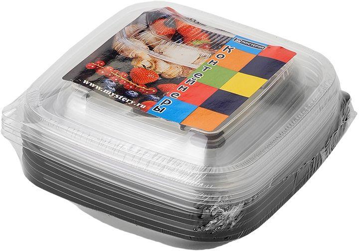 Набор одноразовых контейнеров Мистерия, квадратные, цвет: черный, прозрачный, 250 мл, 5 шт набор одноразовых ложек мистерия 12 шт