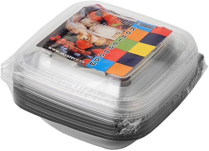 Набор одноразовых контейнеров Мистерия, квадратные, цвет: черный, прозрачный, 375 мл, 5 шт набор одноразовых ложек мистерия 12 шт