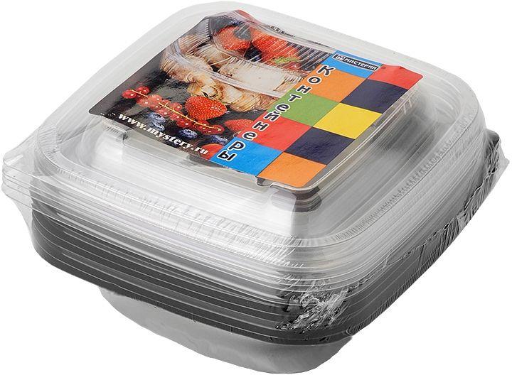 Набор одноразовых контейнеров Мистерия, квадратные, цвет: черный, прозрачный, 500 мл, 5 шт набор одноразовых ложек мистерия 12 шт