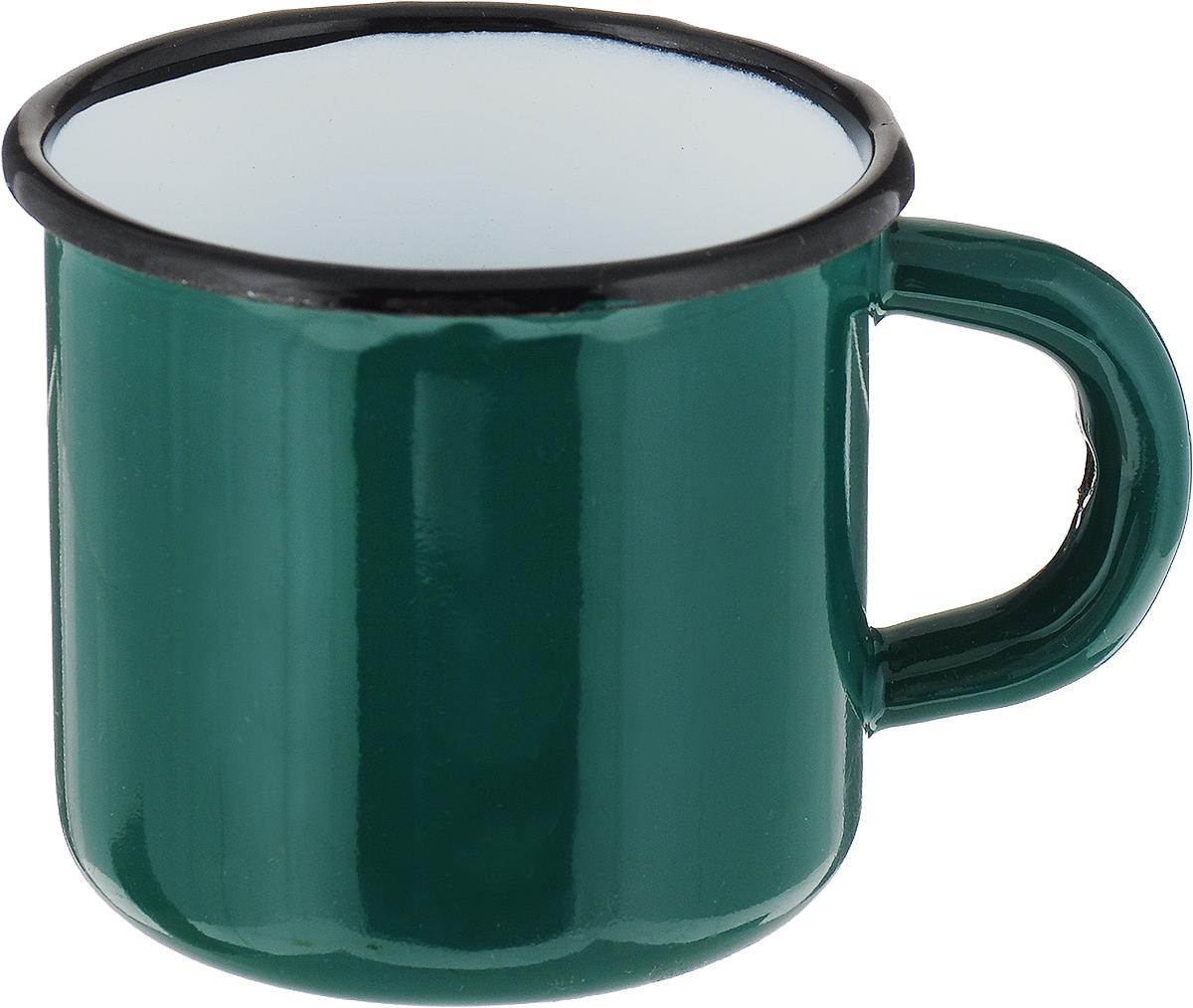 Кружка эмалированная СтальЭмаль, цвет: зеленый, 250 мл кружка эмалированная стальэмаль клубника 1 л