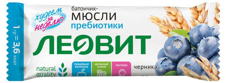 Леовит Батончик-мюсли с черникой и пребиотиками, 30 г леовит биослимика батончик овощной ризотто с томатом 25г