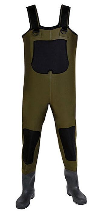 Полукомбинезон рыбацкий мужской Norfin, цвет: зеленый, черный. 81245. Размер 40