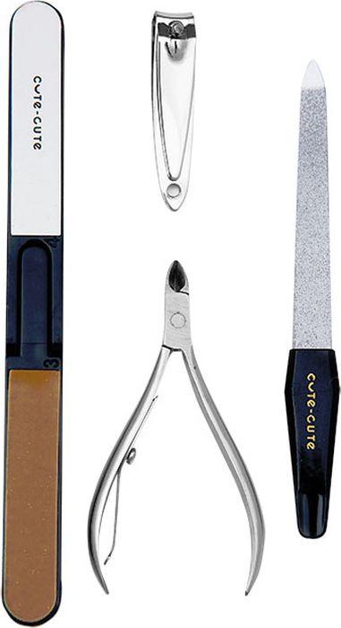 Cute-Cute Набор инструментов для маникюра (клиппер, пилка 4 стороны, кусачки, пилка алмазная) цена