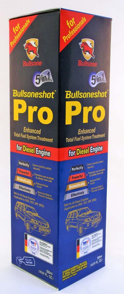 Присадка-стабилизатор Bullsone Bullsoneshot Pro 5 in 1, дизель, 500 мл17001901Прекрасно очищает от углеродистых отложений в инжекторе. Очищает камеру сгорания. Создает защитный слой на поршне и внутренней стенке цилиндра. Предотвращает окисление. Эффективно удаляет воду. Сертифицированный TUV.