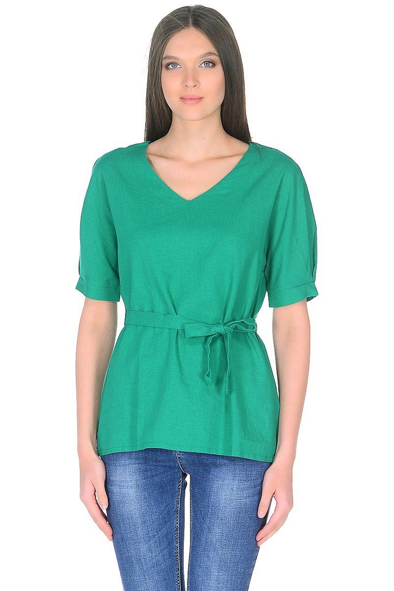 Блузка женская Baon, цвет: зеленый. B198028_Cactus. Размер L (48)B198028_CactusВ жаркую погоду отдайте предпочтение натуральным материалам. Например, смесовому льну, который обладает умением дышать, охлаждать кожу и поддерживать температурный комфорт. Эта блузка от Baon из смесового льна отличается лаконичным дизайном, благодаря чему вы сможете составлять с ней самые различные образы. Модель имеет цельнокроеные рукава, V-образный вырез горловины и завязывающийся пояс, создающий приталенный силуэт.