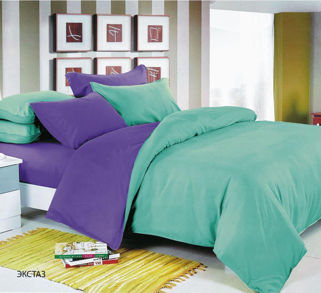 """Комплект белья Павлина """"Экстаз"""", 1,5 спальный, наволочки 70x70, цвет: синий"""
