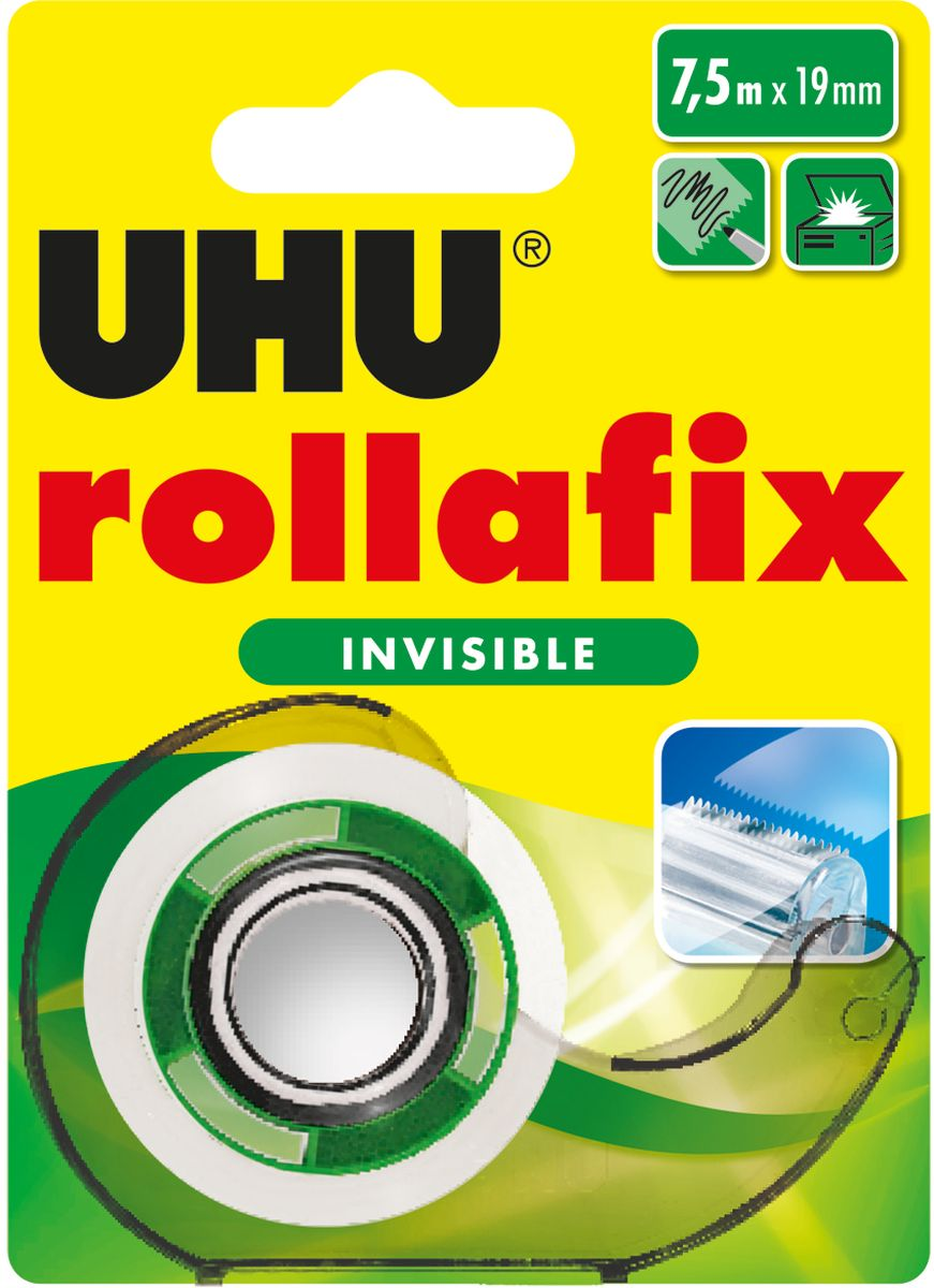 UHU Клеящая лента Rollafix Invisible невидимая 19 мм х 7,5 м лента клеящая двухсторонняя на вспененной основе 19 мм х 5 м