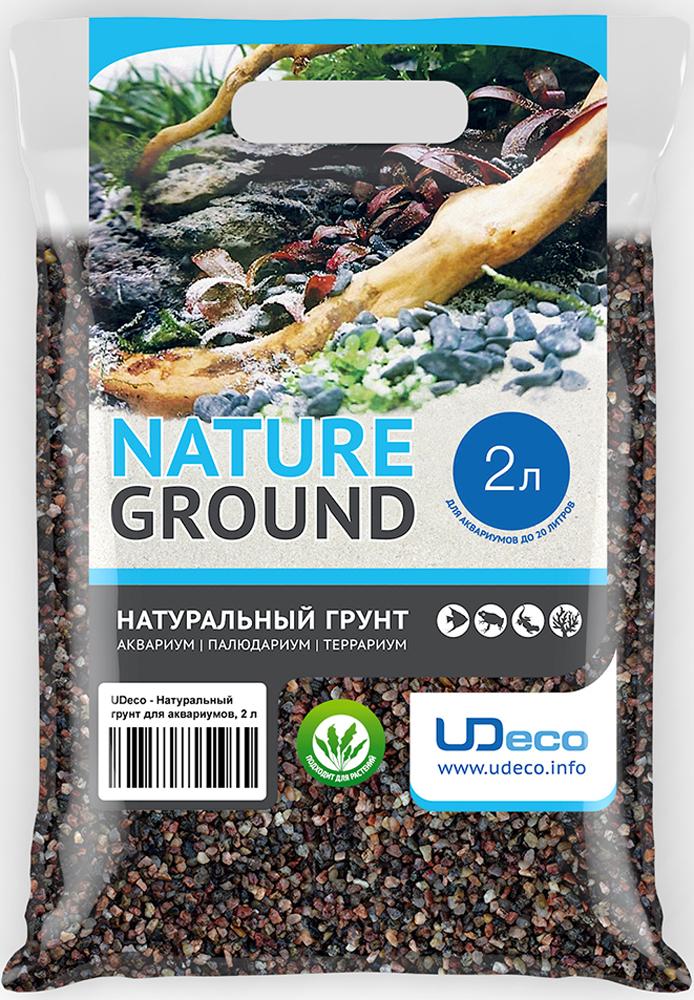 Грунт для аквариума UDeco Коричневый гравий, натуральный, 2,5-5 мм, 2 л грунт для аквариума udeco янтарный гравий натуральный 2 5 мм 2 л