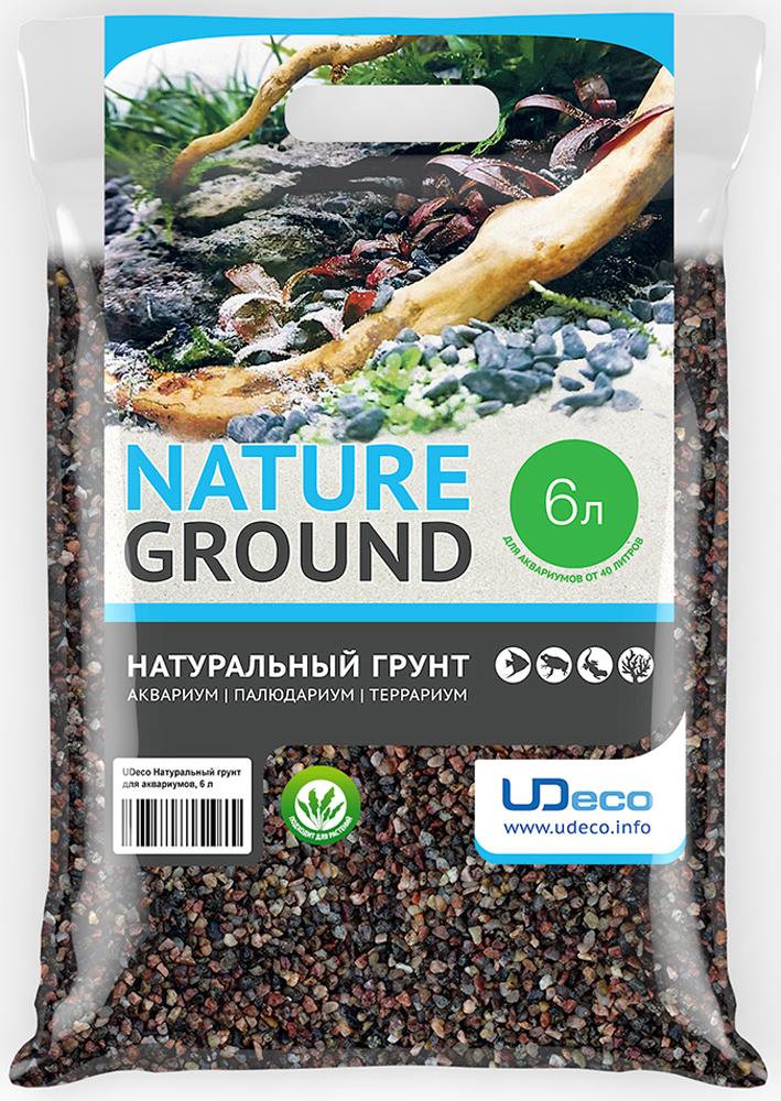 Грунт для аквариума UDeco Коричневый гравий, натуральный, 2,5-5 мм, 6 л рыбки для маленького аквариума 5 литров