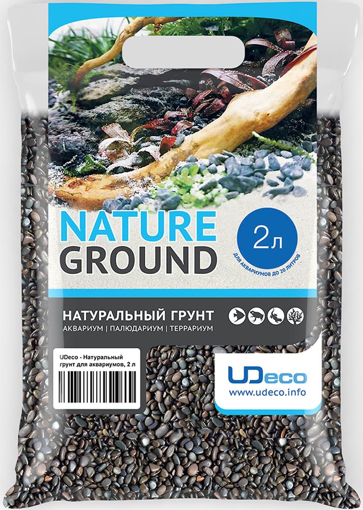 Грунт для аквариума UDeco Темный гравий, натуральный, 3-5 мм, 2 л рыбки для маленького аквариума 5 литров