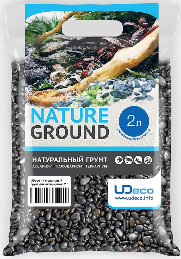 Грунт для аквариума UDeco Темный гравий, натуральный, 6-9 мм, 2 л грунт для аквариума udeco янтарный гравий натуральный 2 5 мм 2 л