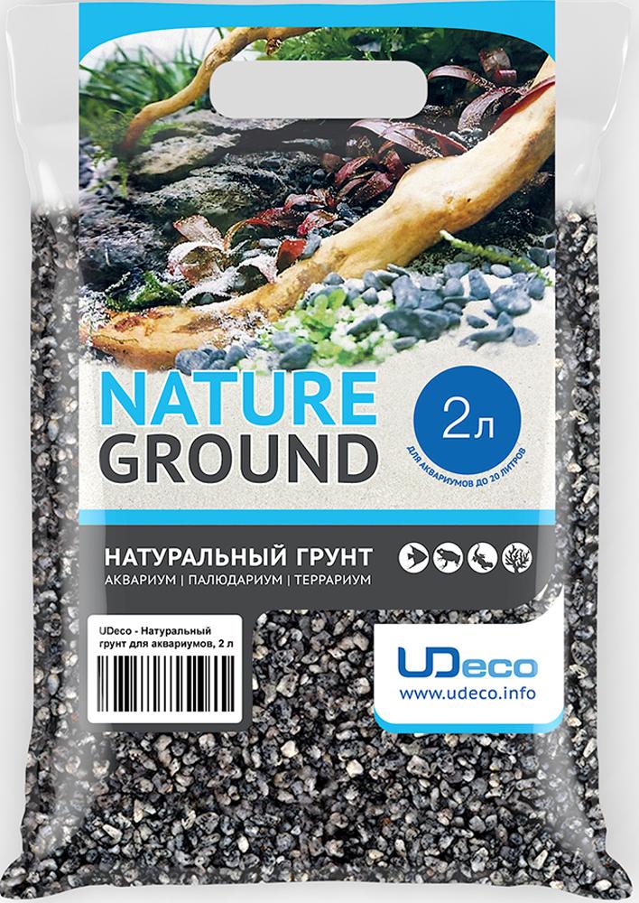 Грунт для аквариума UDeco Серый гравий, натуральный, 4-6 мм, 2 л грунт для аквариума dennerle кристал кварц сланцево серый 1 2мм 5кг