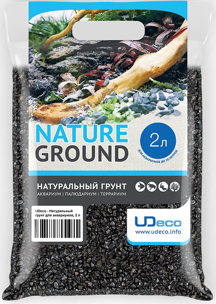 Грунт для аквариума UDeco Черный гравий, натуральный, 4-6 мм, 2 л грунт для аквариума udeco янтарный гравий натуральный 2 5 мм 2 л