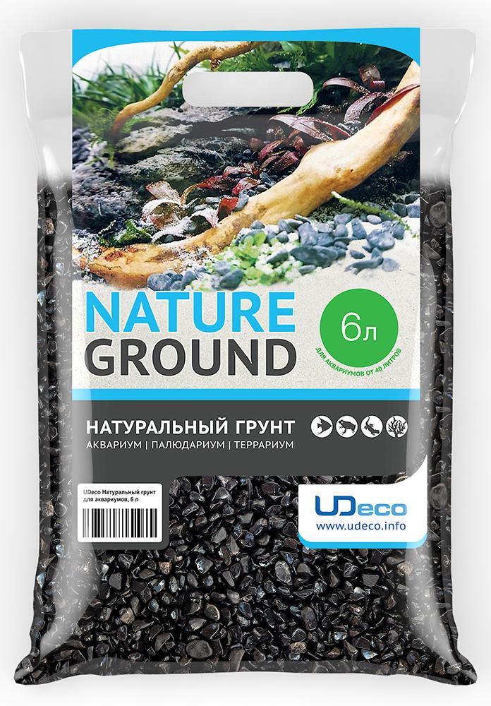 """Грунт для аквариумов UDeco """"Черный гравий"""", 6-12 мм, 6 л"""