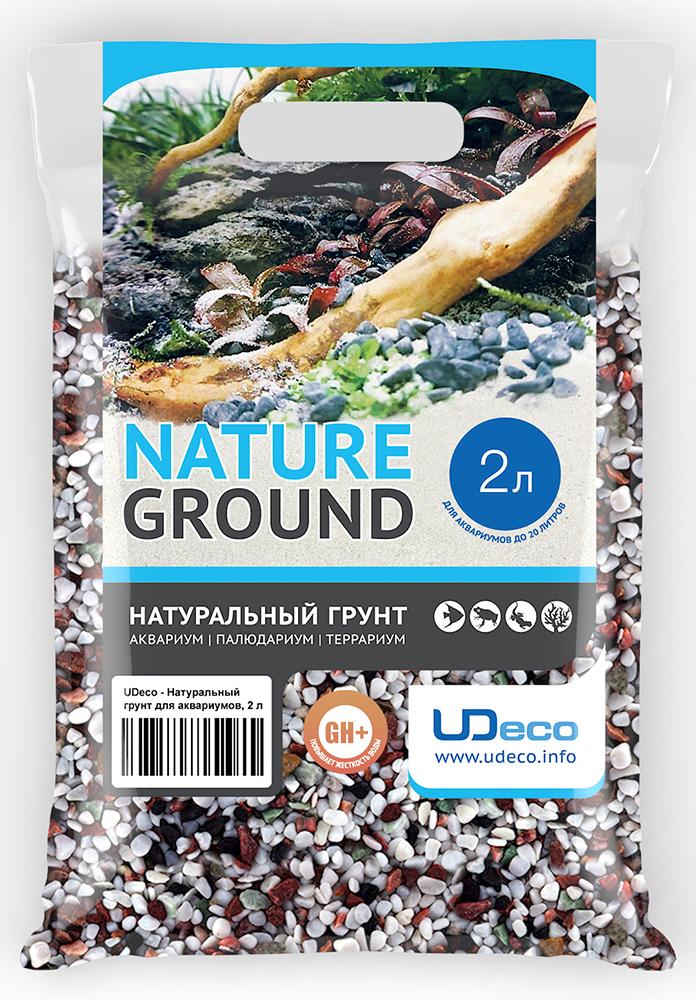 Грунт для аквариума UDeco Разноцветный гравий, натуральный, 4-6 мм, 2 л грунт для аквариума udeco янтарный гравий натуральный 2 5 мм 2 л