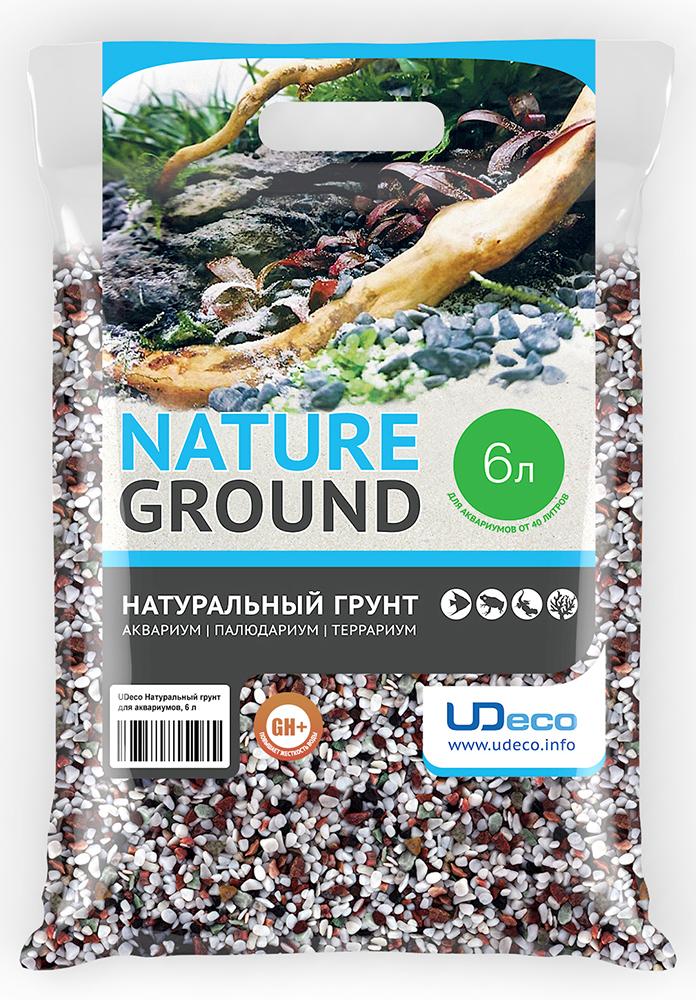 """Грунт для аквариума UDeco """"Разноцветный гравий"""", натуральный, 4-6 мм, 6 л"""