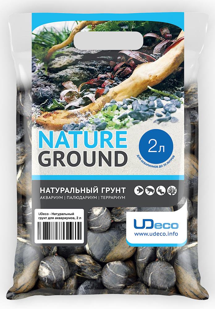 """Грунт для аквариума UDeco """"Черная галька"""", натуральный, 30-50 мм, 2 л"""