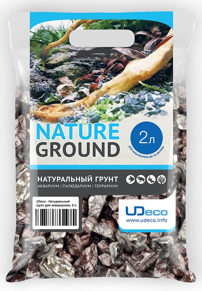 """Грунт для аквариума UDeco """"Волнистая галька"""", натуральная, 30-50 мм, 2 л"""