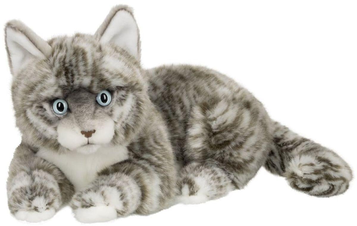 Anna Club Plush Кот Табби короткошерстный серебряный, лежит 25 см anna club plush мягкая игрушка кот сибирский серый 25 см