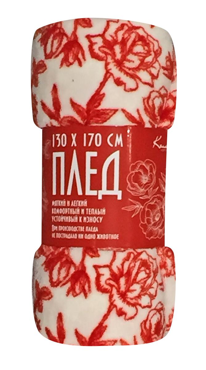 Плед Коллекция, набивной, цвет: белый, красный, 130 х 170 см. ОЗПД-130/3